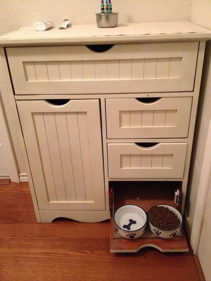 My Hubby Repurposed A Kitchen Cabinet Into A Pet Feeding