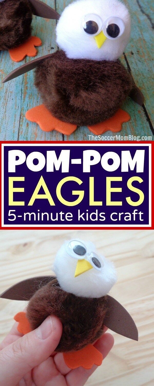 DIY Craft: Cute-as-pie and only minutes to make! This Pom-Pom Bald Eagle Craft is the perfect easy holiday kids activity or summer art project!
