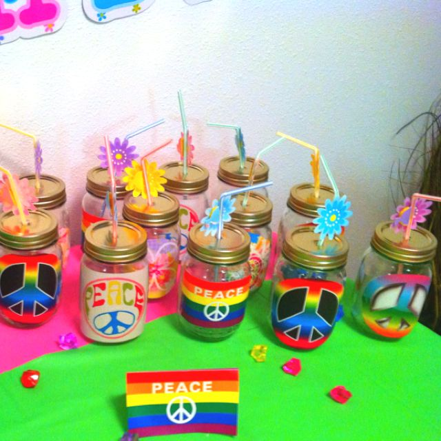 Drinking jars for a Hippie chick dance party. Great for a Woodstock  inspired bash.