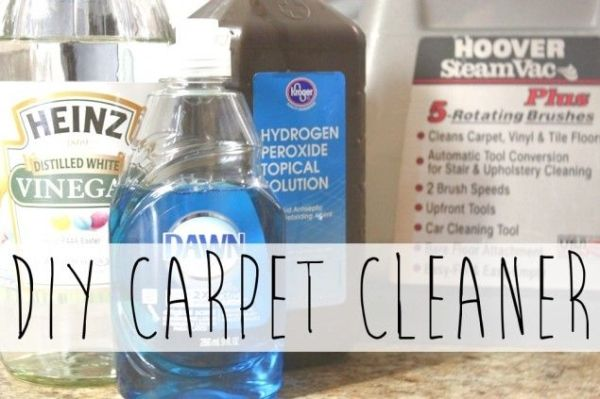 DIY Carpet Cleaner for Steam Cleaner - 1 cup hydrogen peroxide, 1/2 cup white vinegar, 1/4 cup Dawn, essential oils (I used eucalyptus and spearmint).  Fill dispenser with this solution and fill water dispenser with hot water. by karla