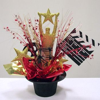 Top Star Centerpiece shown in Red and Gold. Order DIY Centerpiece kits from www.awesomeevent.com.
