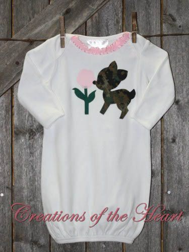 Pink & Camo Deer Baby Gown by 1CreationsoftheHeart on Etsy, $22.00