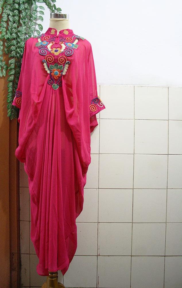 GORGEOUS caftan Moroccan Style Pink Chiffon Gold Embroidery Abaya Dubai Maxi Dress Jalabiya for women. $60.00, via Etsy.