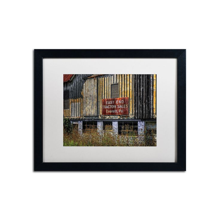 "Trademark Fine Art ""East End Tractor Sales"" Matted Black Framed Wall Art, Red"