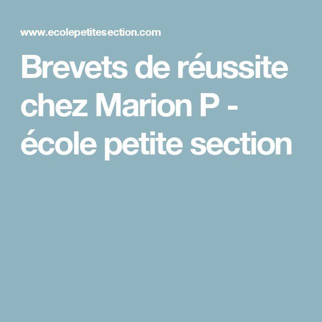 Brevets de réussite chez Marion P - école petite section
