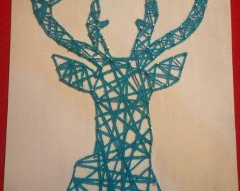 Tableau String Art Tête de Cerf от CreaDamoureux на Etsy