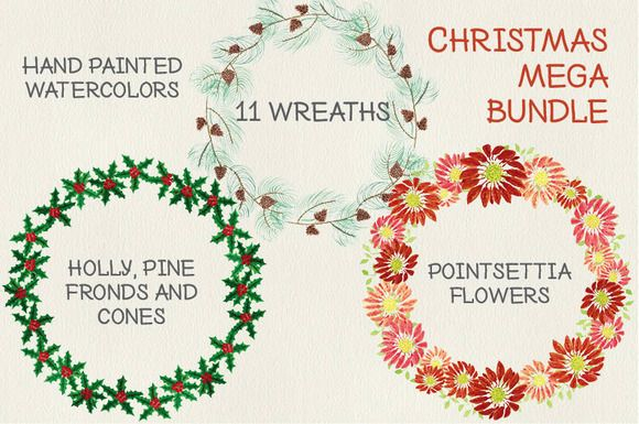 Christmas watercolor wreath bundle by Lolly's Lane Shoppe on Creative Market