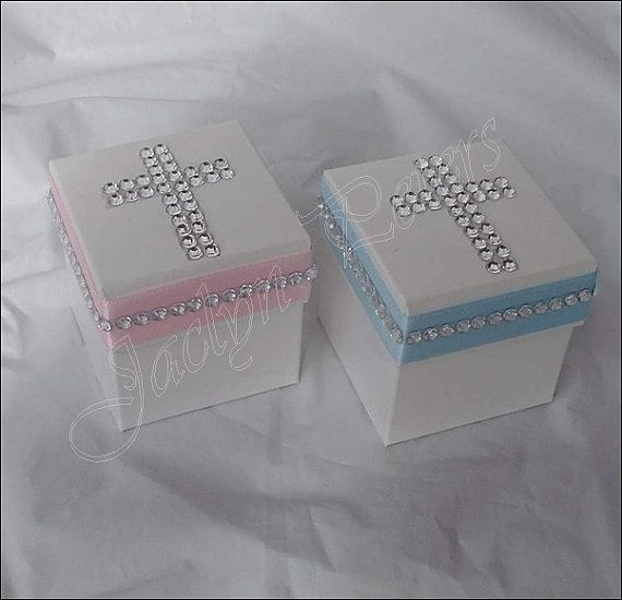 Designed By Special Request! Boy Girl Twins Rhinestone Cross Baptism, Communion Favor Box, Candy Holder Set of 24