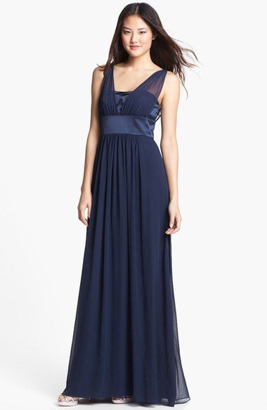 Free shipping and returns on Dessy Collection Satin & Chiffon Dress at Nordstrom.com. Sheer chiffon straps over a glossy satin bodice create the illusion V-neckline of a gorgeous floor-sweeping dress for a tonal style with texture-play sophistication.