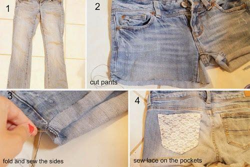 Ideia legal para transformar a calça jeans em short jeans usando renda. Customize suas calças antigas e tenha shorts modernos.