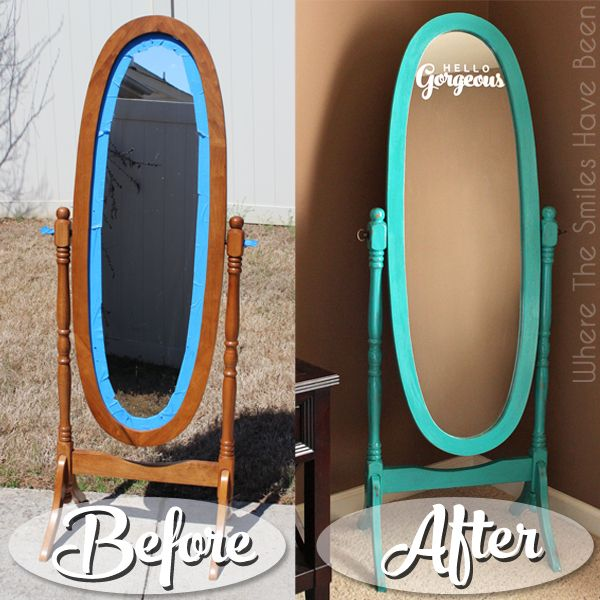 Tutorial showing how to do a mirror makeover with some chalk paint & a motivational saying in etched glass vinyl. Hello Gorgeous! Get your upcycle on!