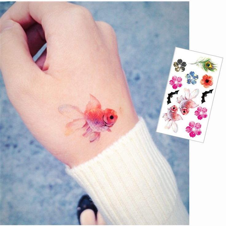 color goldfish Flash Tattoo Hand Sticker 10.5*6cm Small Waterproof Henna Beauty Temporary Body Tattoo Sticker Art FREE SHIPPING