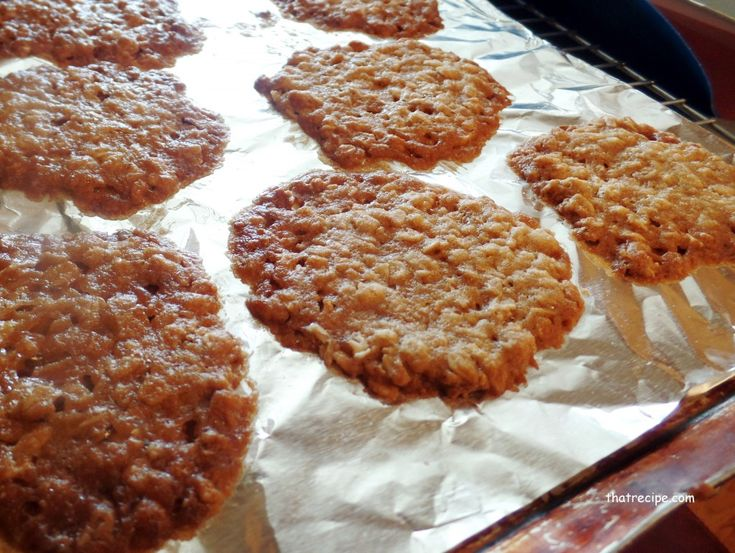 oatmeal lace cookies on the pan