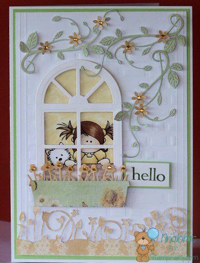 window scene card - Stampfairy.com digi Mimi Dog - Tonic Studios Window Frame & Window Basket dies from The Papercrafts Boutique Elgin - bjl