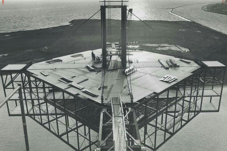 The view from 'Ontario place'; Aided by ideal weather; construction of the Ontario Government's new pavilion is speeding ahead -- Courtesy of Toronto Public Library -- 1970
