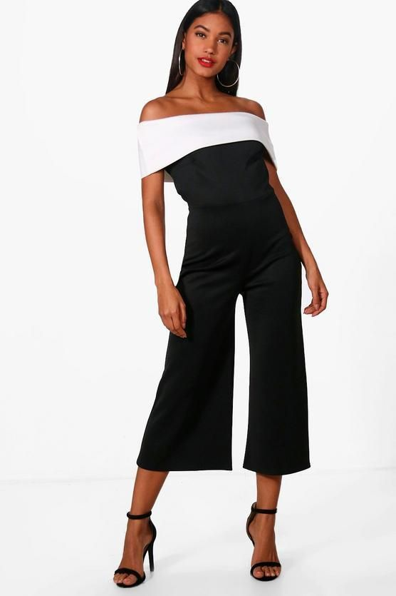 5b2b68d630ce Boohoo Contrast Bardot Culotte Jumpsuit Black Size UK 10 rrp 20 DH180 HH 15   fashion  clothing  shoes  accessories  womensclothing  jumpsuitsrompers  (ebay ...