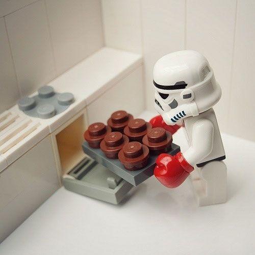 LEGO Stormtrooper baking cupcakes