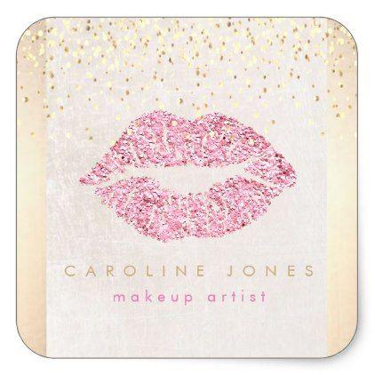 faux pink glitter lipstick mark square sticker - craft supplies diy custom design supply special