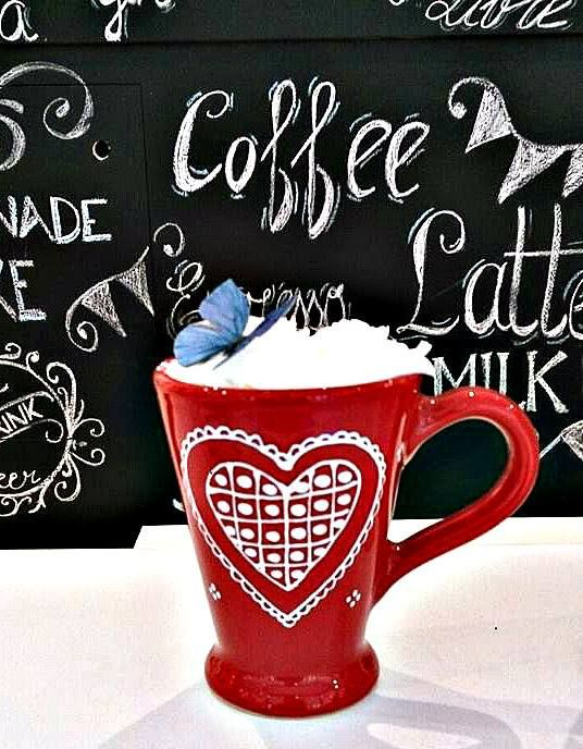 lovely cup with handpainted heart for my morning coffee latte -sofieshome.com