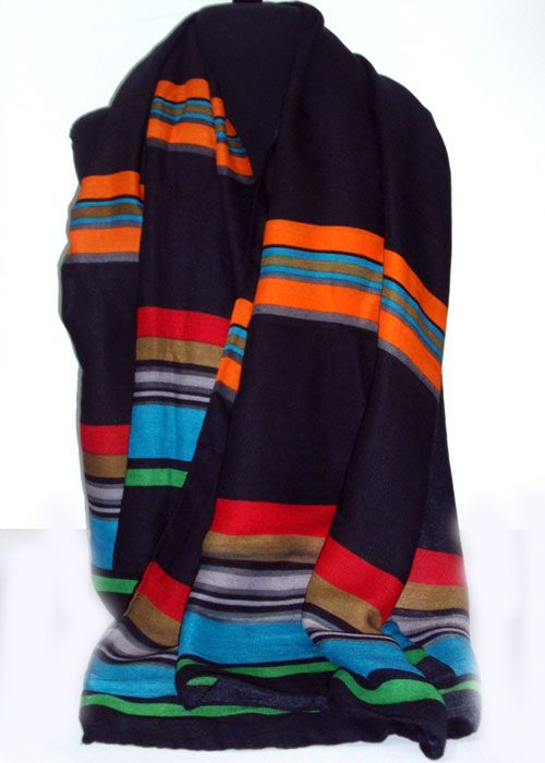 long and wide heavy woolen scarf with colourful  stripes_fashion woman accessories.