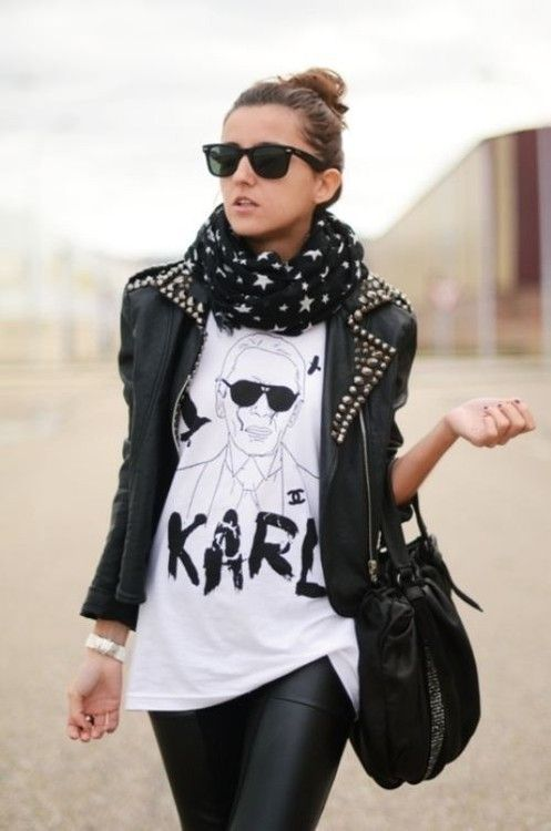 fashion, girl, t-shirt, clothes, image, karl lagerfeld: Graphics Tees, Street Style, Outfit, Rockers Chic, Leather Jackets, Scarfs, T Shirts, Leather Pants, Karl Lagerfeld