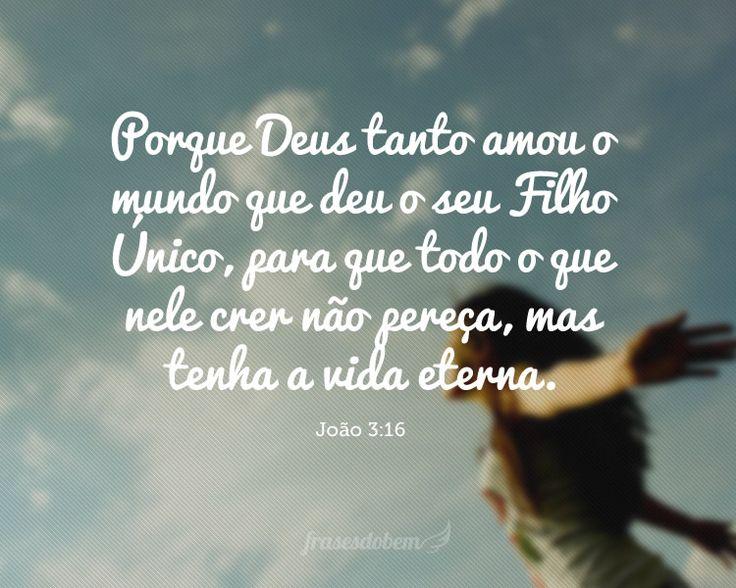 Porque Deus tanto amou o mundo que deu o seu Filho Único, para que todo o que nele crer não pereça, mas tenha a vida eterna. (João 3:16)