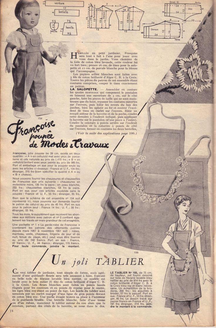 PAR AMOUR DES POUPEES :: M&T 1952-06 : Salopette pour Françoise (couture)