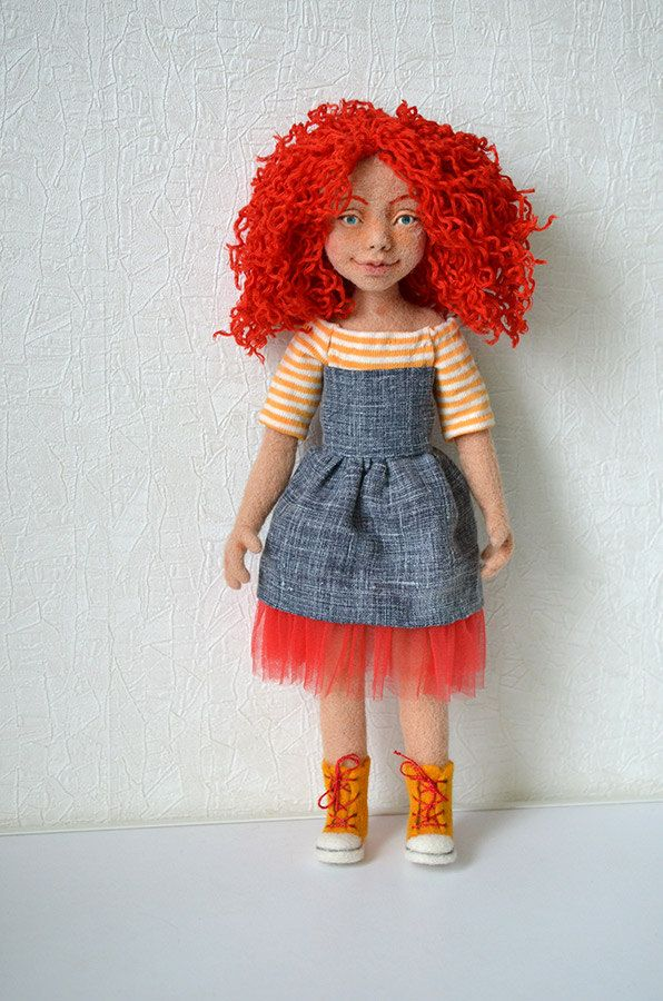 Needle felted doll. Collectible toy. Ginger girl. OOAK art doll. Felt doll. Wool. - pinned by pin4etsy.com