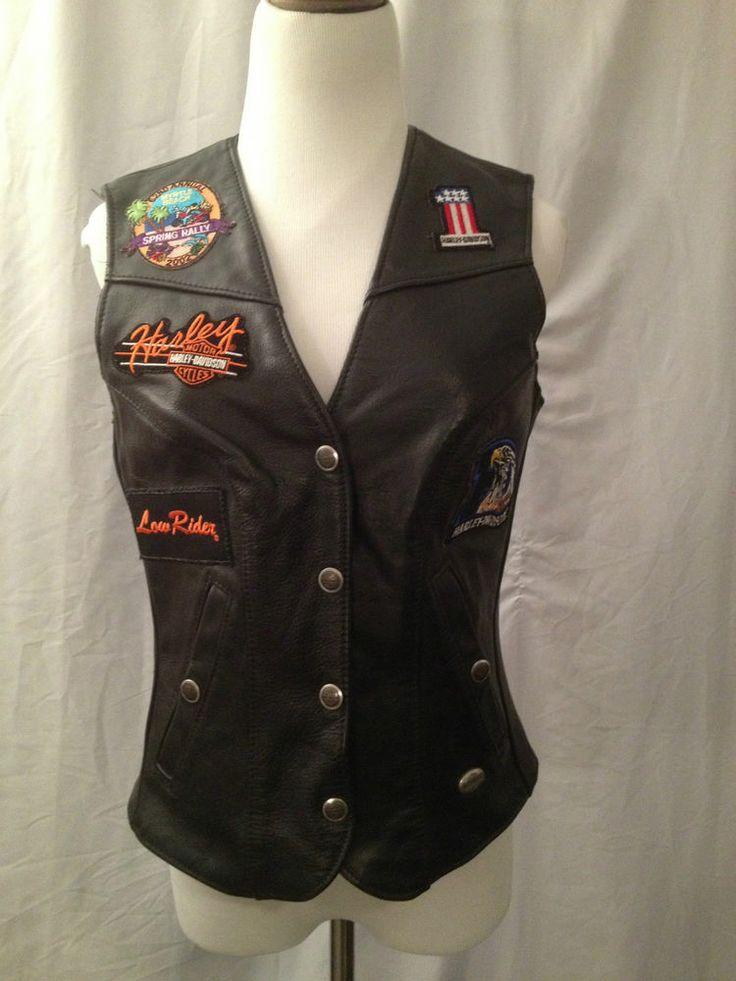 E Af Fc A D A Ff Harley Davidson Vest Black Leather on Sportster Dirt