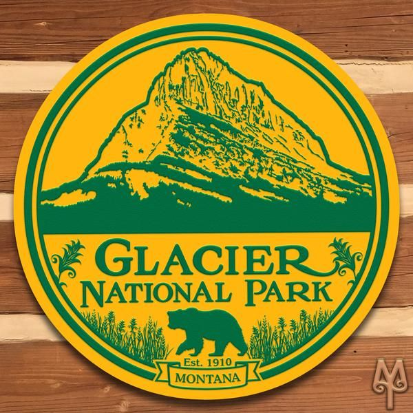 Add this decorative, metal wall sign to your home or cabin; and, show everyone that you love Glacier National Park. A decorative wall sign made using heavy gauge American steel and a process known as sublimation, where the image is baked into a powder coating for a durable and long lasting finish. 14 inch diameter signs have one 3/16 inch top mounting hole.  28, 36, and 42 inch diameter signs have four 3/16 inch holes at 90 degree intervals. Designed in Montana. Made in the USA. Mad...