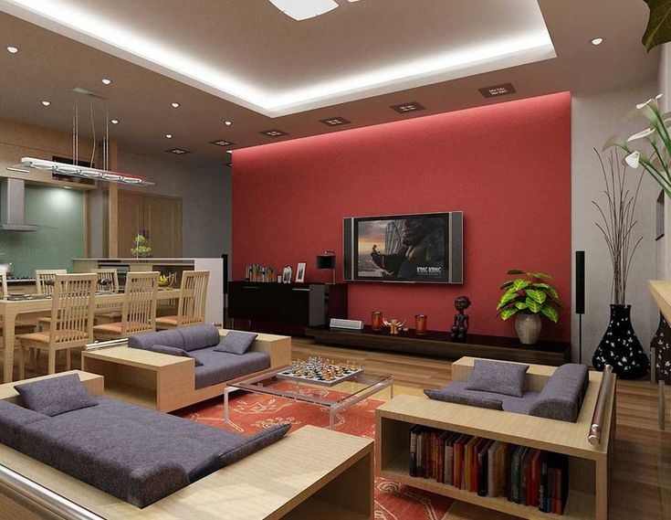 Wall Mount TV Living Room Design Ideas with white modern retro sitting room red accent wall color with wheat glossy wood sofa set with gray seat and backrest square glass