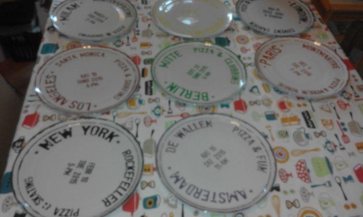 piatti pizza con stampato citta' e Stati cm 31 euro 10