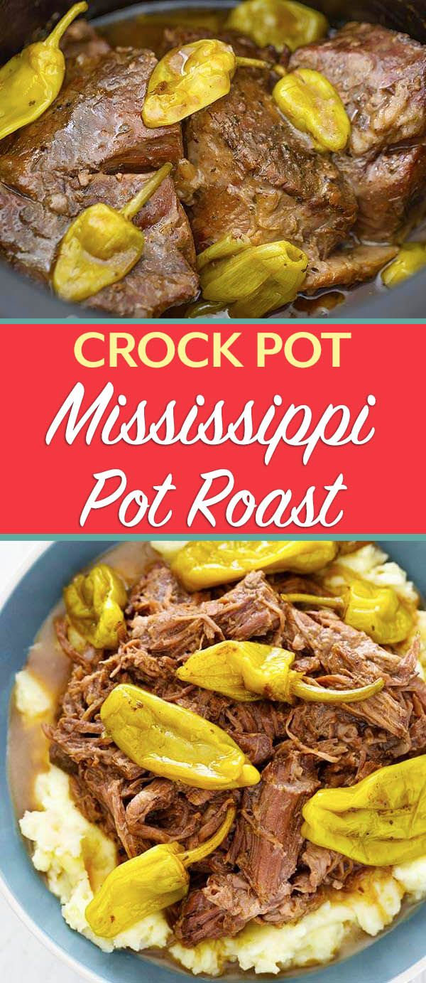 Mississippi Pot Roast Made In The Crock Pot Is Full Of Flavor This Slow Cooker Pot Roast Recipes Slow Cooker Mississippi Pot Roast Pot Roast Crock Pot Recipes
