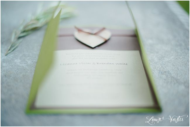 Another view of the green and brown wedding invitation. Can be placed in a Green, brown or gold envelope.