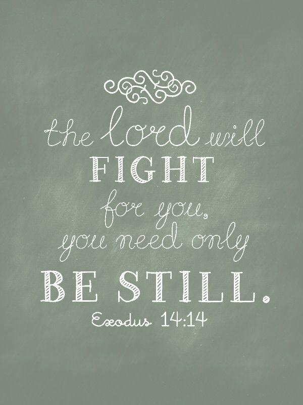 Exodus 14:14 De Heere zal voor u strijden en gij zult stil zijn.