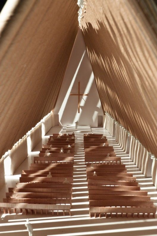 Prototype of cardboard cathedral currently being constructed in New Zealand | Courtesy of Shigeru Ban Architects