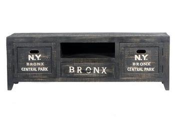 Mediamöbel i industriell stil av mörkbetsat mangoträ, Bronx