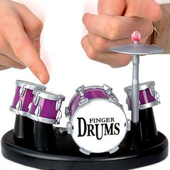 cool gadget - Finger Drums. Could be the perfect annoying desk accessory. Imagine how happy my coworkers would be.