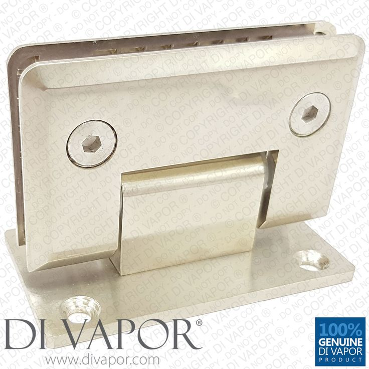 90 Degree Shower Hinge Wall to Glass Door Bracket | Light Satin Nickel Finish | Double Sided