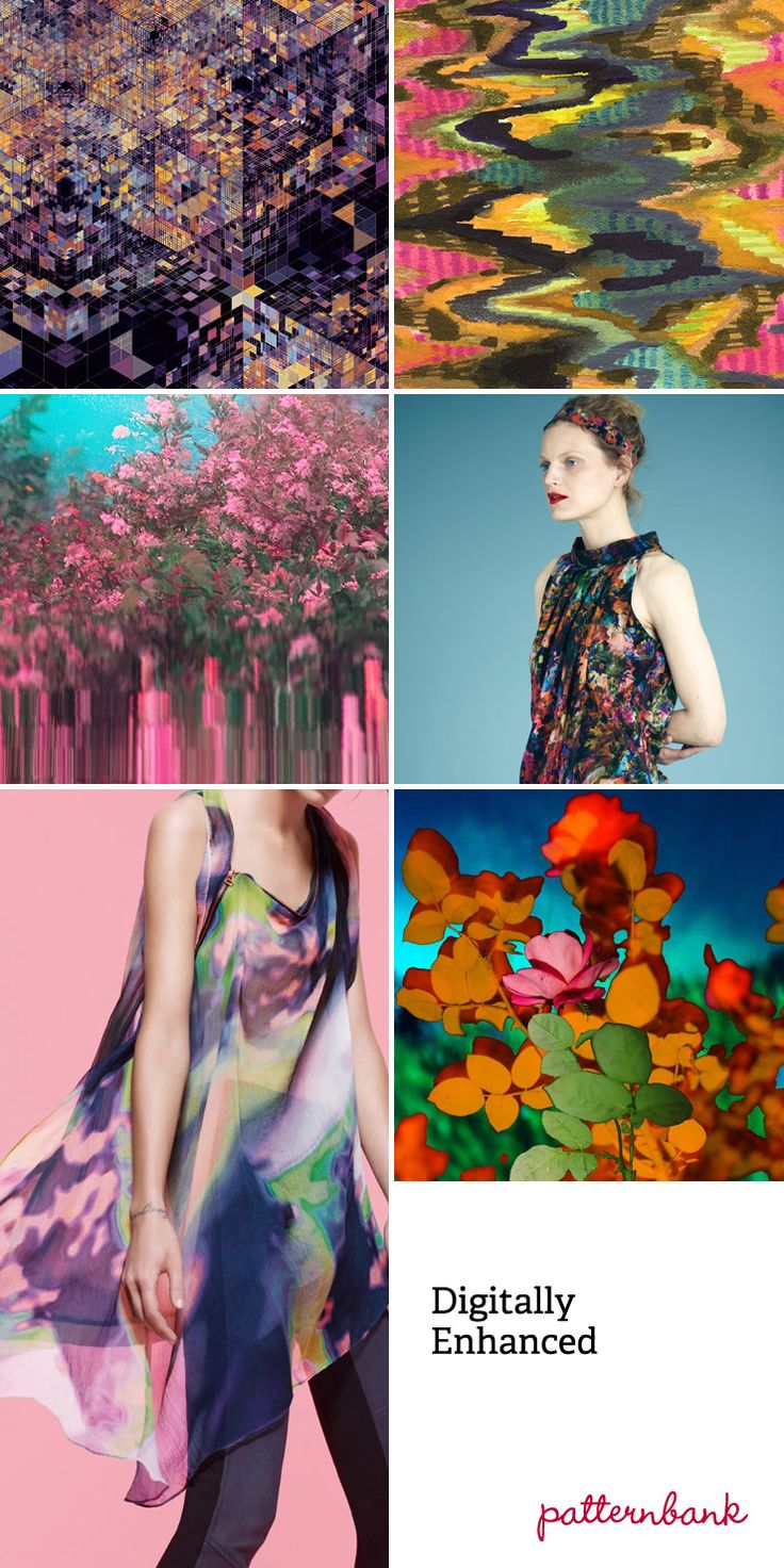 Spring/Summer 2013-Digitally Enhanced-Pop Art inspired half-tone dots – Futuristic florals hidden amongst complex geometry – Textural and photographic overlays – painterly abstract multicolor imagery - Photoshop blurred zig zags – Photoshop filters create complex fading in and out of colour