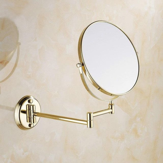 Website Picture Gallery  Inch Golden Polished Brass Bathroom Cosmetic Mirror Makeup Mirror Double Slide Magnifying Bath Mirrors Wall