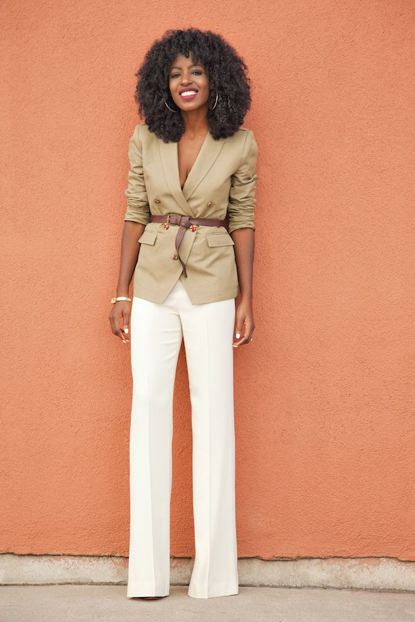 Military Style Blazer + Mid Rise Flare Pants