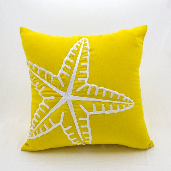 Starfish Pillow Cover, Nautical Throw Pillow Cover, Yellow Linen White Starfish Embroidery, Coastal Decor, Cottage Beach Pillow, Cushion