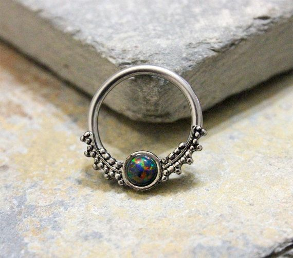 Black Opal Fire Conch Hoop Earring,Septum Ring,Cartilage,Helix,Nipple Ring,Daith Captive Bead Earring,14G 16G Surgical Steel Sold as Single