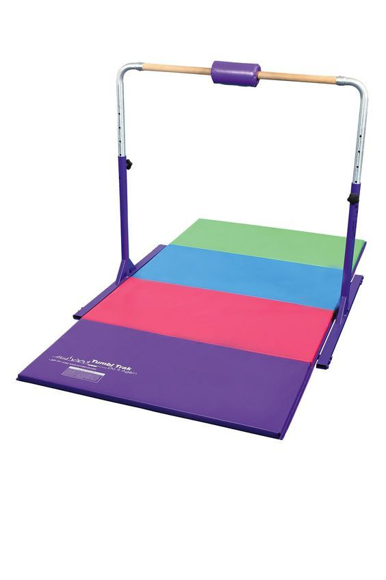 This Jr. Kip bar with Gymnastics Tumbling Mat (4ft x 8ft x2in) is great for beginner gymnasts or skills up to level 3. The bar is sturdy and adjustable, while allowing gymnasts to practice and perform More