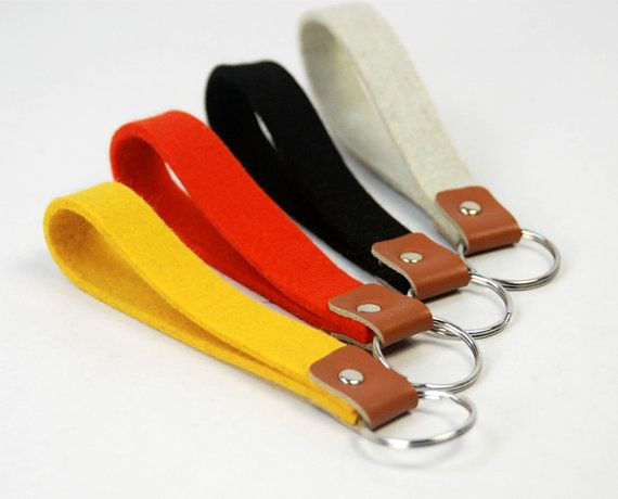 Wool Felt Keychain Key Chain wrist Key Fob Wristlet strap Key Holder Split Ring…