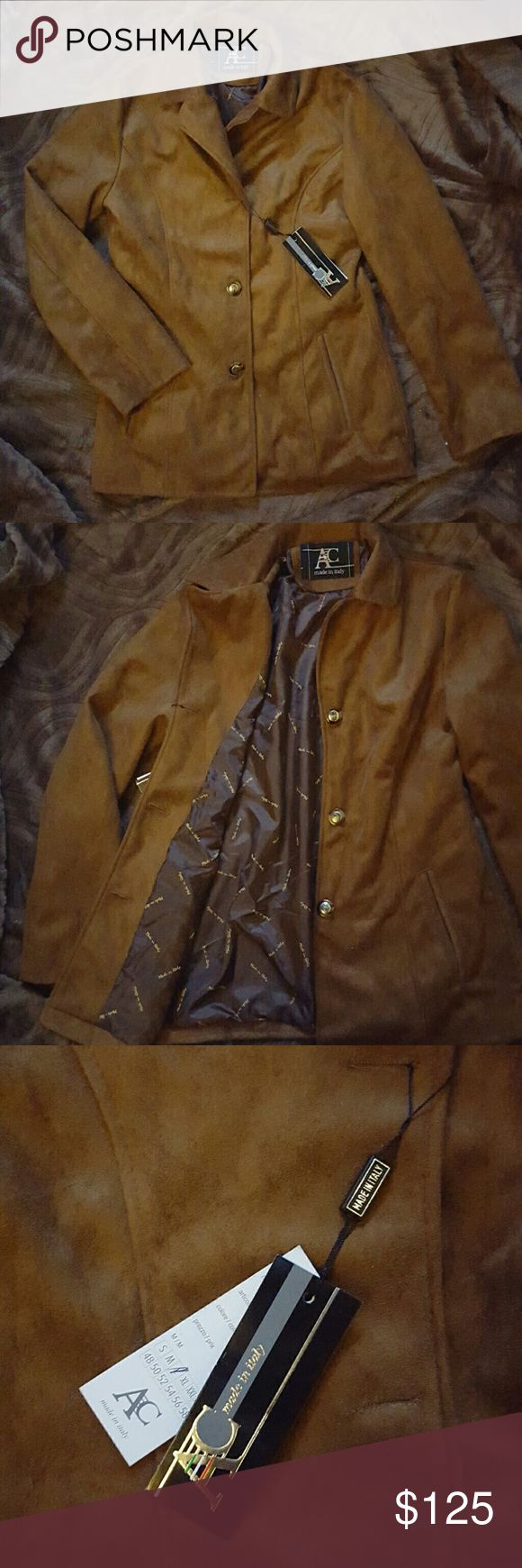 Genuine Suede Jacket NWT. Real suede, with polyester lining on the inside. Just a tad too big for me. NOT ARMANI EXCHANGE, BUT SIMILAR CUT AND DESIGN. Armani Exchange Jackets & Coats