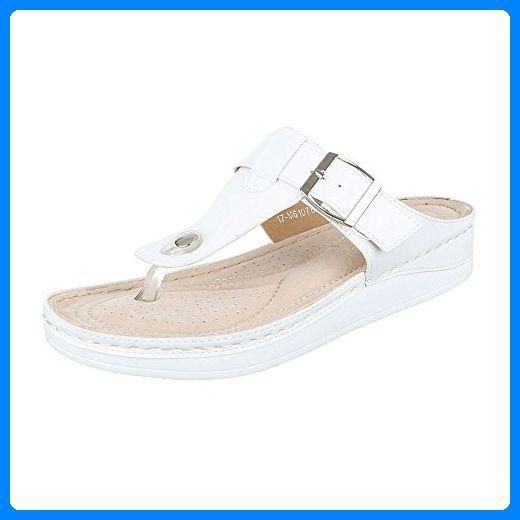 Zehentrenner Damen-Schuhe Peep-Toe Zehentrenner Ital-Design Sandalen / Sandaletten Weiß, Gr 38, 17-M61078B- - Sandalen für frauen (*Partner-Link)