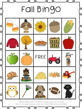 Fall: Your students will love playing Fall Bingo! Save time and money with this fun printable Fall Bingo game!  In this product you will receive the following: 30 different printable Fall Bingo cards (25 spaces of pictures, including 1 free space on each card) Calling Cards: Each card contains the picture and name of the object, there are 8 cards per page to be cut out.