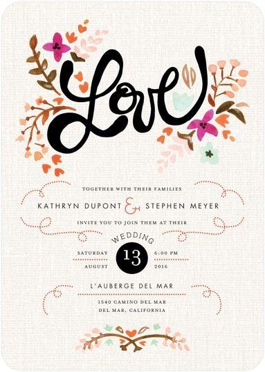 Just Lovely - Signature White Wedding Invitations in Blaze or Deep Purple | Magnolia Press